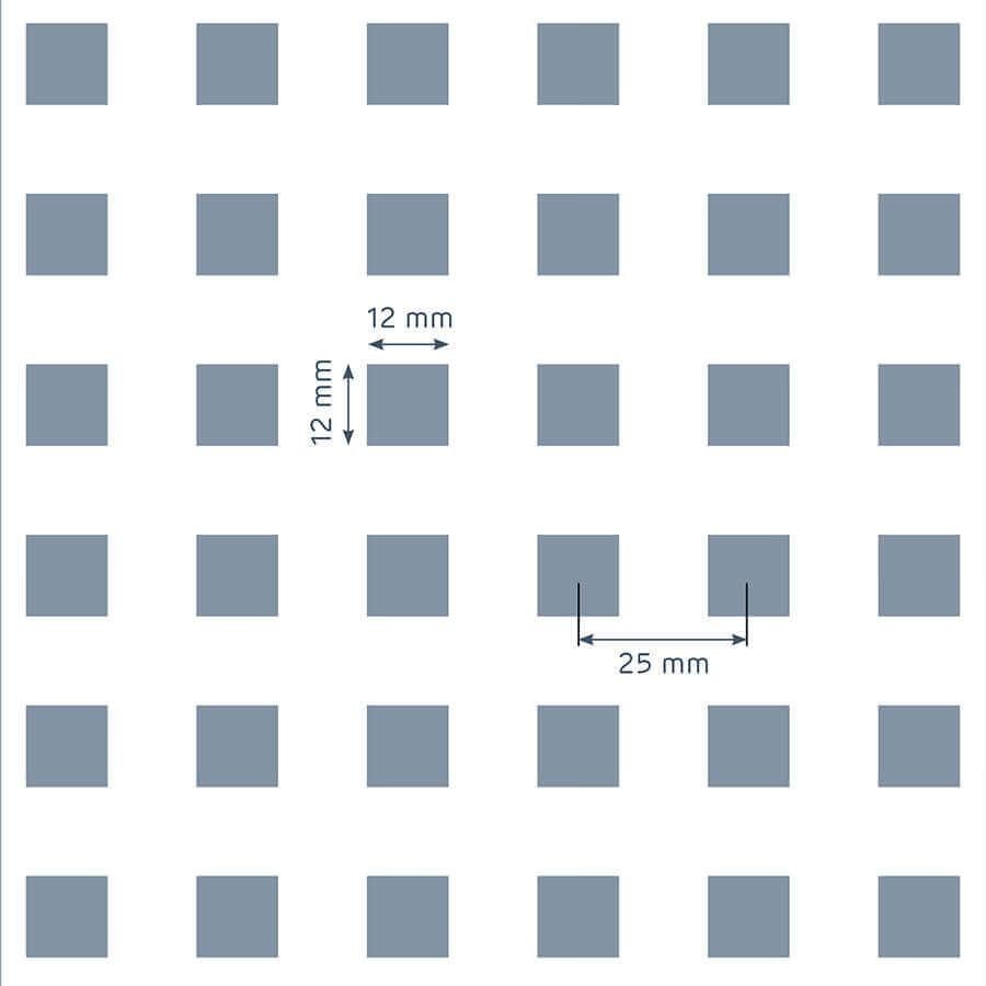 patrón de perforación de la placa Prégybel C12N1 de Siniat