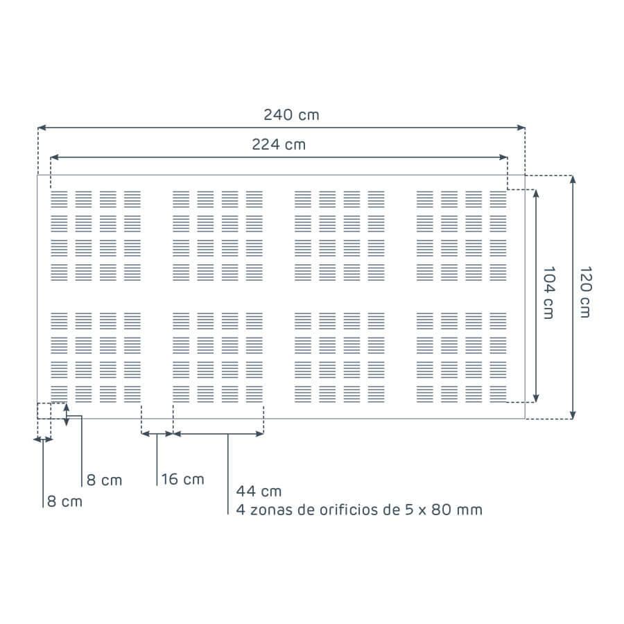 dimensiones de la placa Prégybel L580 N8 de Siniat
