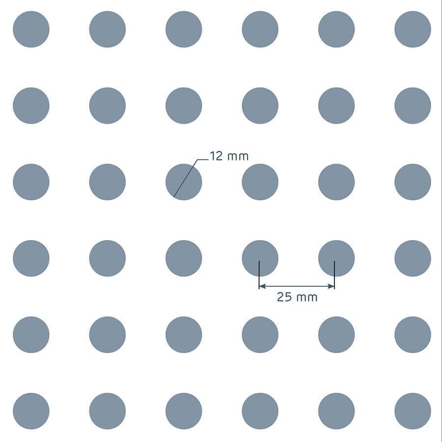 patrón de perforación de la placa Prégybel R12N1 de Siniat