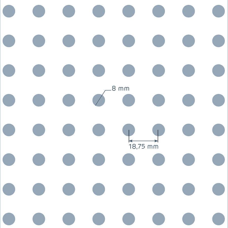 patrón de perforación de la placa Prégybel R8N1 de Siniat