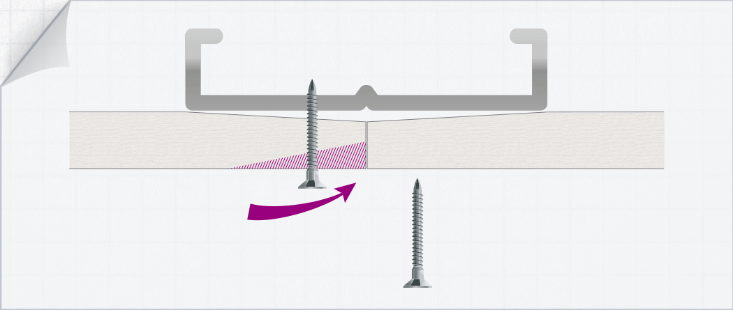 ilustración que muestra como la placa synia crea un borde afinado en el atornillado de la placa al perfil metálico