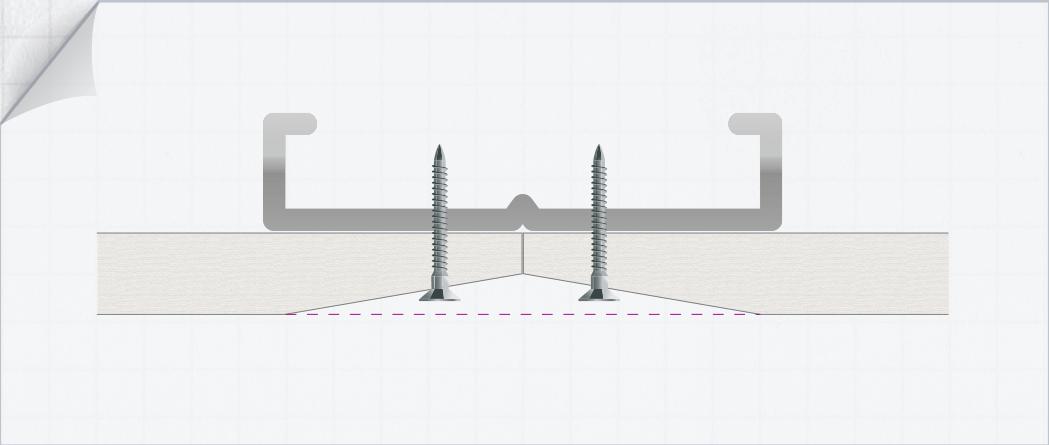 ilustración que muestra el borde afinado al anclar la placa en el perfil