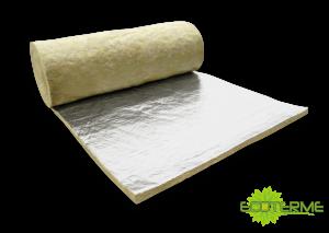 Mantas de Lana de Roca ECOTERME no Revestidas (MN), revestidas con Papel Kraft (MK) o con una lámina de Aluminio (MA), para Aislamiento térmico y acústico para Industria.