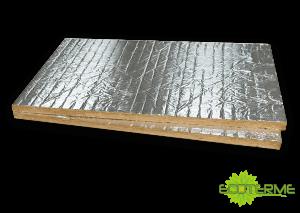 Paneles CHAMINE de Lana de Roca Ecoterme para aislamiento de chimeneas y recuperadores de calor, revestida con aluminio, resistente a altas temperaturas.