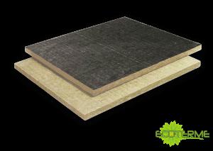 Paneles COBERLAN rígidos de Lana de Roca ECOTERME de alta densidad, no revestidos (N) o con Oxiasflato soldable (B). Para el aislamiento térmico y acústico en cubiertas planas, metálicas o de betún como soporte de impermeabilización mecánicamentete o por termocolada.