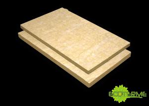 Paneles RE COAT de lana de roca ECOTERME rígidos de espesor uniforme y alta densidad. Hidrófugos y con resina termoendurecida, para la instalación de sistemas de aislamiento exterior de fachadas (ETICS).