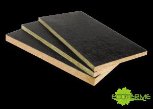 Paneles de lana de roca Panel T ECOTERME revestidos con fibra natural para el aislamiento acústico y absorción sonora.