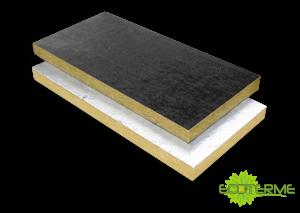 Paneles de Lana de Roca Windacoustic ECOTERME revestidos con una capa de velo negro o de fibra natural, para aislamiento acústico y la absorción sonora.