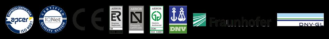 Listado de certificados que cumple Panel-Plac Distribuidora, S.L.: Apcer, IQNet, CE, AENOR, DNV, Fraunhofer y DNV·GL