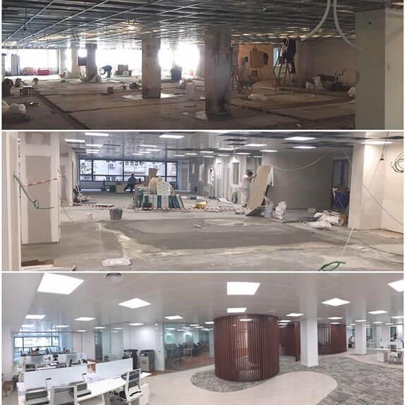 diferentes pasos de la reforma e instalación de unas oficinas por CSL, con material suminsitrado por PANEL-PLAC DISTRIBUIDORA, S.L.