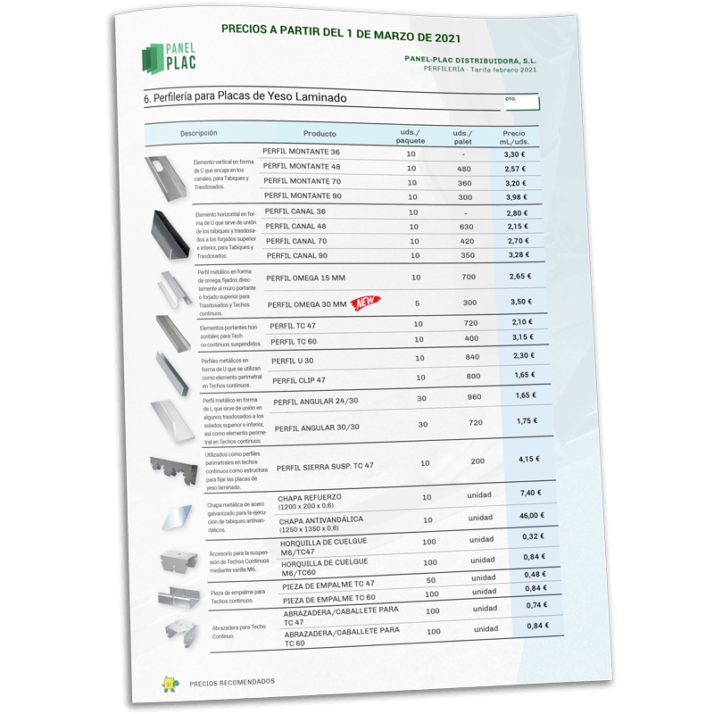 Tarifas de material aislante para construcción (Panel-Plac Distribuidora, S.L.)